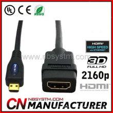 El cable micro plateado oro 6Ft de HDMI para la tableta de 2160P Smartphone