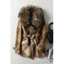 Piel auténtica de cordero y prendas de piel con piel de mapache