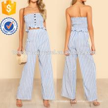 Shirred Ruffle Hem Strapless Top & Pants Set Manufacture Wholesale Fashion Women Apparel (TA4004SS)