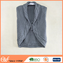 Mixed Knitted Cotton Acrylic Shawl Collar Vest Cardigan Sweater For Women
