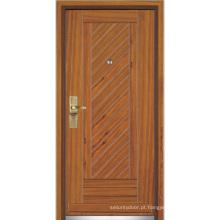 Porta de entrada de madeira de aço / porta de madeira de aço (YF-G9058)
