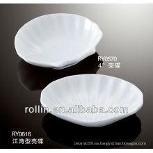 Hotel y restaurante utilizado en forma de concha plato, salsa plato, plato de cerámica