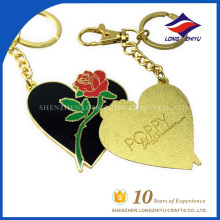 Custom high quality flower heart shape keychain ring