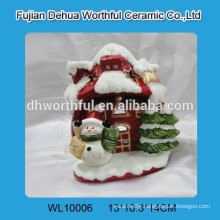 Wholesale Ceramic Cut Christmas House with LED Light