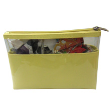 Yellow PVC cosmetic bag for ladies