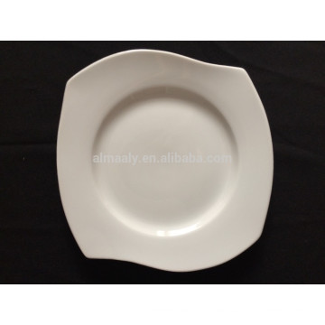 porcelain white square plate with waves