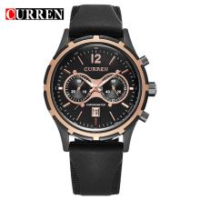 Business Leather Band Quartz Watch Gift For Mens
