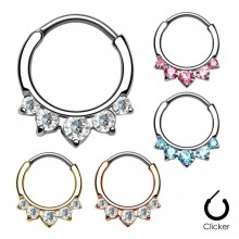 Pavé CZ Gem Round Nose Septum Clicker