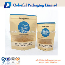 Dry food kraft paper lined doypack standup ziplock food packaging paper kraft bags with window