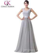 Grace Karin fuera del hombro gasa sin espalda gasa gris madre larga del vestido de noche del novio CL6231-1