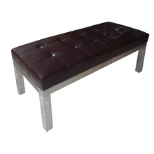 PU Cover Hotel Ottoman with Stainless Steel Foot