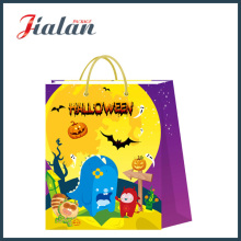 Glossy Laminated Ivory Paper Halloween Holiday Shopping Gift Paper Bag