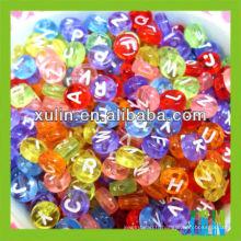 4 * 7mm alphabet rond clair coloré perles de lettres blanches rondes