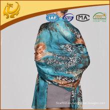 Lady Leopard impreso bufandas de seda al por mayor, bufanda de seda de Vietnam