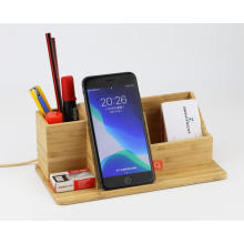 10w pen holder box fast charge phone custom desktop stand 3in 1 organizer bamboo wireless charger