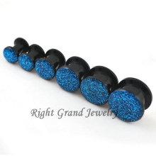 Bouchons d'oreille en acrylique noir à paillettes fileté Hotsale