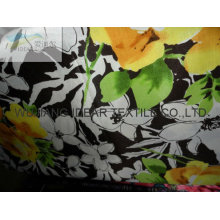 Polyester Flower Pattern Printed Satin for Lady Dress