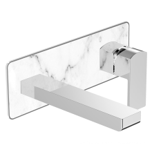 Chrome wall mounted Brass Wash Basin Single handle faucets with Hot and Cold wall faucet tap with White Marble Decoration