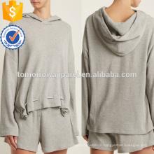 Серый трикотаж хлопок смесь с капюшоном Толстовка ОЕМ/ODM Производство Оптовая продажа женской одежды (TA7020H)