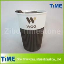 Geschenkbox Keramik Kaffeetasse mit Logo und Kunststoffdeckel