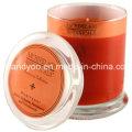 Bougie de soja parfumée de luxe en verre avec couvercle
