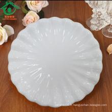 Rond blanc spécialisé en gros de plats en céramique en porcelaine