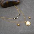 Dainty Gargantilha Beads Colar Big Shell Pingente Conjunto De Jóias De Noiva De Ouro Indiano