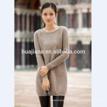 Camisola de caxemira de mulher longa e média