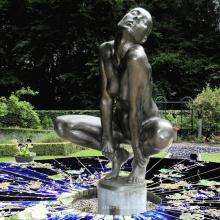 moderne Gartenskulptur Metallhandwerk Leben Größe nackte Frau Statuen