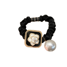 Korean Black Camellia Pearl Scrunchies Hair Tie Elastic Band Ring Cute Girl Ponytail Head Rope Rubber