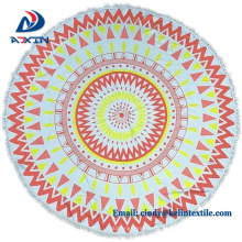Promotional item cotton velour round printed beach towel
