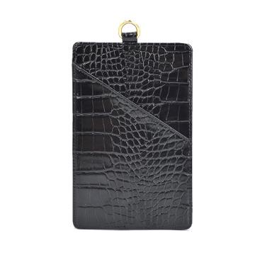 Porta-cartões em couro com cordão retrátil e suporte para crachá