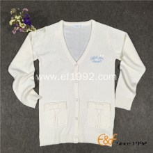 Thin Plain Jersey Embroidery Long-sleeves Cardigan
