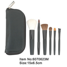 6pcs portable plastic handle makeup brush with zipper case