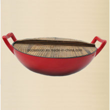 Enamel Cast Iron Wok Cookware with Wooden Cover Dia 36cm