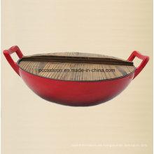 Esmalte de hierro fundido wok utensilios de cocina con el diámetro de cubierta de madera 36 cm