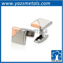 botão de punho de metal personalizado, abotoaduras personalizadas de ouro rosa de alta qualidade