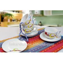 Ensemble de café en céramique mini design personnalisé Haonai, tasse à café décoratif avec soucoupe
