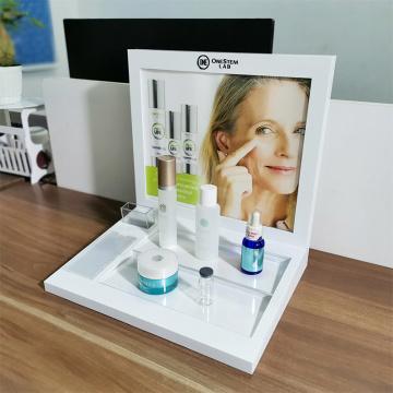 Cremalheira de exposição acrílica acrílica do suporte de exposição dos cosméticos do desktop