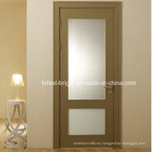 Chapa de MDF de vidrio Insertar puerta interior de madera