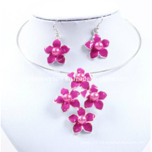 Lovely Five Flower, Pink Enamel, Attractive Lady Necklace Set (XJW12601)