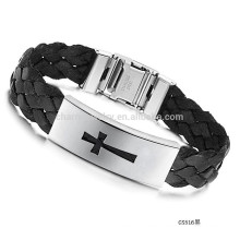 2015 neue Stahl Kreuzwebart Armband Black Belt Männer Seide Wickel Armband PH516