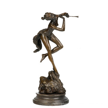 Music Decor Brass Statue Lady Player Carving Bronze Sculpture Tpy-719