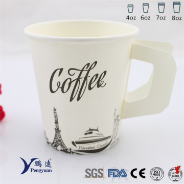 Disposable Party Single Wall Insulation Coffee Paper Cup with Handle