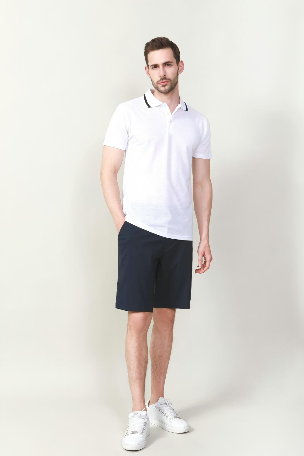 SLIT FIT WHITE POLO IN COTTON POLY FABRIC