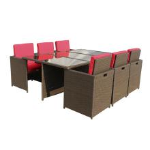 Rotin extérieur classique, salle à manger mobilier Table Cube
