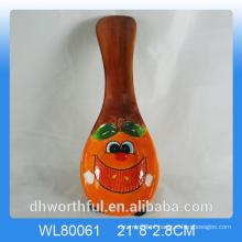 Cutely figurine maçã colher de cerâmica descanso para decoração da cozinha