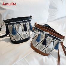 Women Straw Shoulder Crossbody Handbag Summer Casual Bag