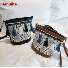 Frauen Stroh Schulter Crossbody Handtasche Sommer Casual Bag