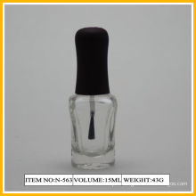 Black Cap With Glass Nail Polish Containers , 15ml Heart Shape Bottle
